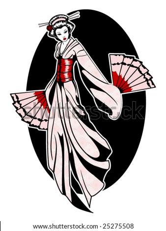 stylized vector illustration of a beautiful geisha girl