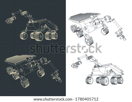 Stylized vector illustration of a mars rover drawings Foto d'archivio ©