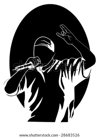 stylized vector illustration of a rapper - stock vector