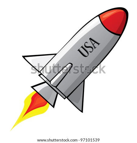 Stylized vector illustration of a retro rocket ship space vehicle blasting off into the sky.