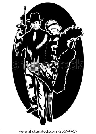 stylized vector illustration of a 1920's gangster and a beautiful flapper girl