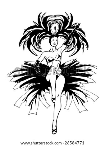 stylized vector illustration of a showgirl