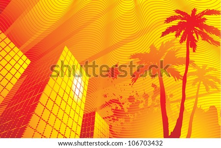 Stylized vector illustration of a very hot summer evening in the downtown area of a city.