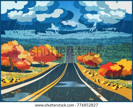 Stylized vector illustration of an autumn road through the valley during a thunderstorm