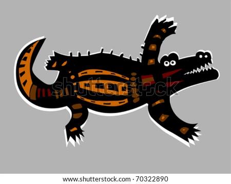 Stylized Vector Illustration of Crocodile