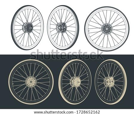 Stylized vector illustration of road bike wheel drawings Foto stock ©
