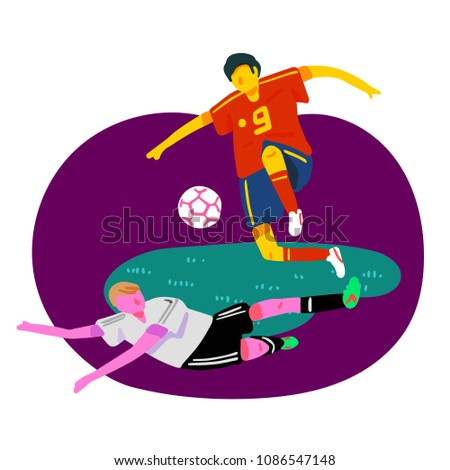 Stylized vector illustration of Spanish football player jumping with the ball to avoid a German football player sliding tackle