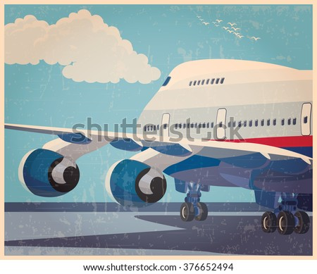 Stylized vector illustration on the theme of civil aviation. Modern jet airplane ready to take off in the old style poster.