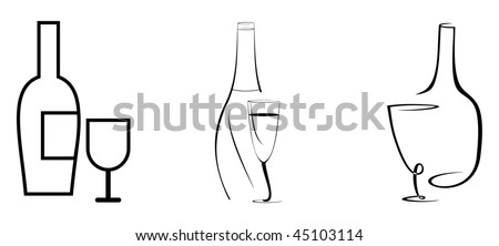 Stylized vector image - bottle of wine and glass.  Black outline on white background.