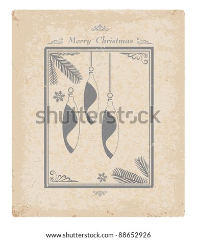 Stylized vector image of a vintage Christmas card