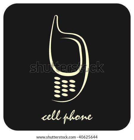 Stylized vector image of mobile phone on black background. Can be used as design element for section with contact information. Icon, button.