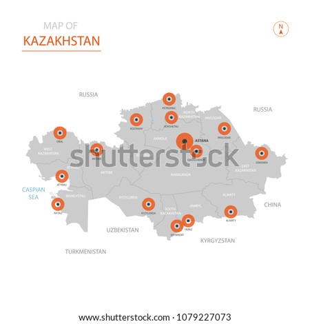 Stylized vector Kazakhstan map showing big cities, capital Astana,  administrative divisions.