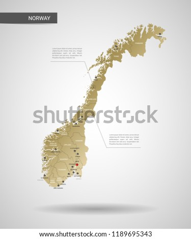 stylized vector norway map