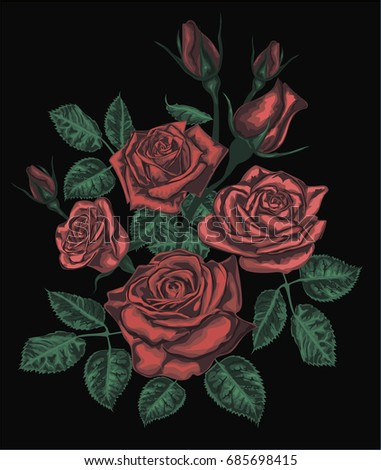 Stylized vector roses isolated on black - Red Roses - vintage ar
