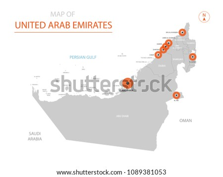 Stylized vector United Arab Emirates map showing big cities, capital Abu Dhabi, administrative divisions.