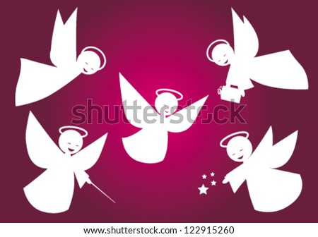 Stylized vector white angels