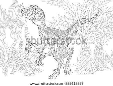 stylized velociraptor dinosaur