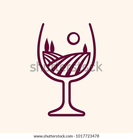 stylized vineyard landscape in