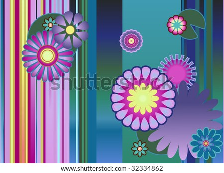 stylized water lilies - stripes and blossoms - stock vector