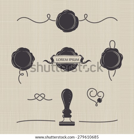Stylized wax seals on seamless canvas. Silhouette templates for your design. Set of wax seal, rubber stamp and decorative elements of the cord.