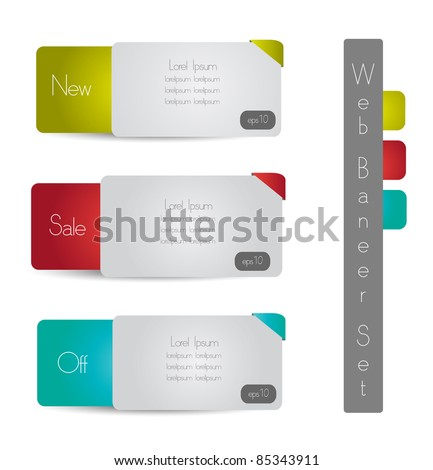 stylized web banner set vector