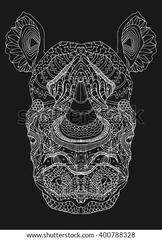 stylized white line art  rhino