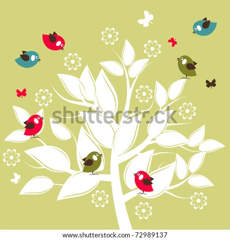 Stylized white silhouette tree with flying birds