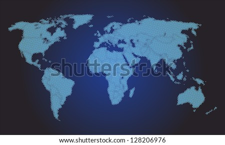 stylized world map - stock vector