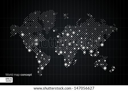 Stylized World Map concept with biggest cities. Globes business background. Night view with spot lights. Vector illustration.