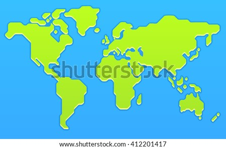 stylized world map modern flat