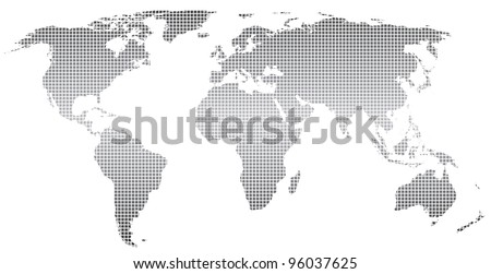 Stylized world map ,square dots.Vector.  Separate layers