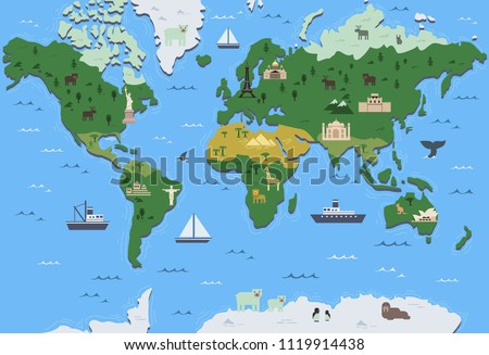 Stylized world map with tourist attraction symbols. Simple geographical map. Flat vector illustration.