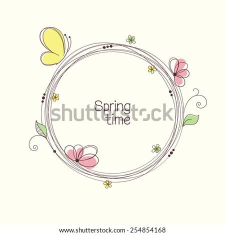 stylized wreath with flowers