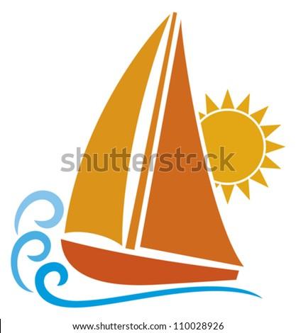 stylized yacht (sailboat symbol, sailboat icon)