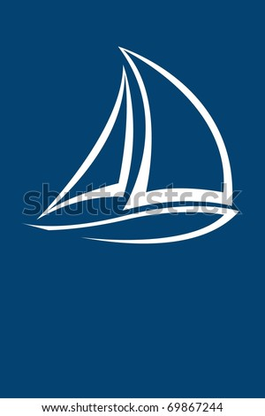 stylized yacht  white on blue