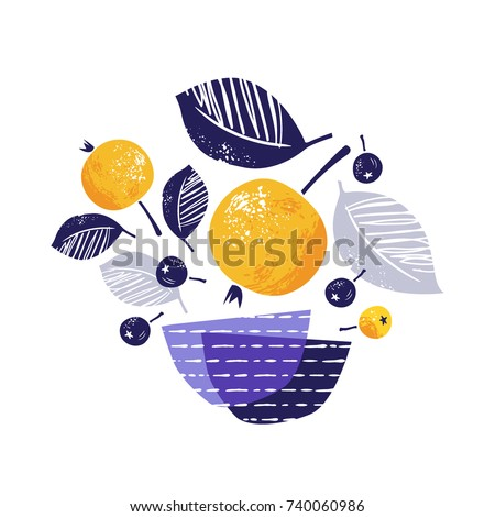 Stylized yellow ripe apples, rowan berries and bowls. Hand drawn vector illustration