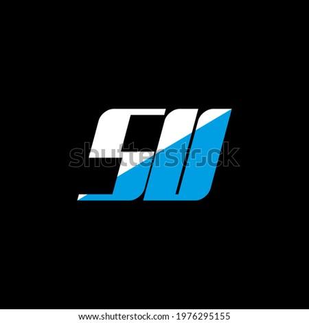 SU letter logo design on black background. SU creative initials letter logo concept. su icon design. SU white and blue letter icon design on black background. S U Stok fotoğraf ©
