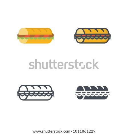 Sub food flat line icon