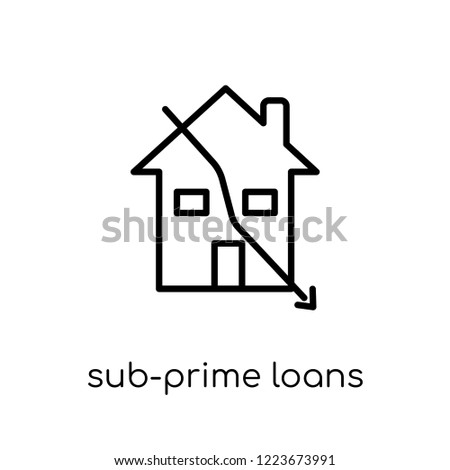 Sub-prime loans icon. Trendy modern flat linear vector Sub-prime loans icon on white background from thin line business collection, editable outline stroke vector illustration