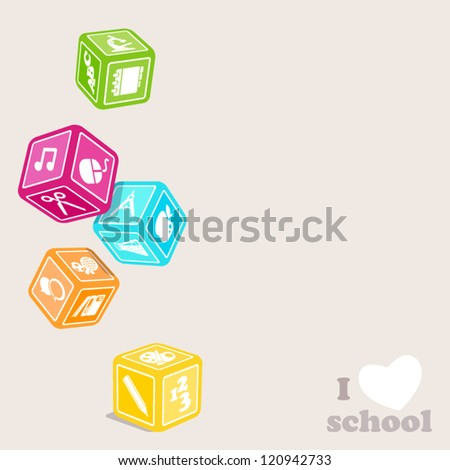Subjects cubes. I love school.