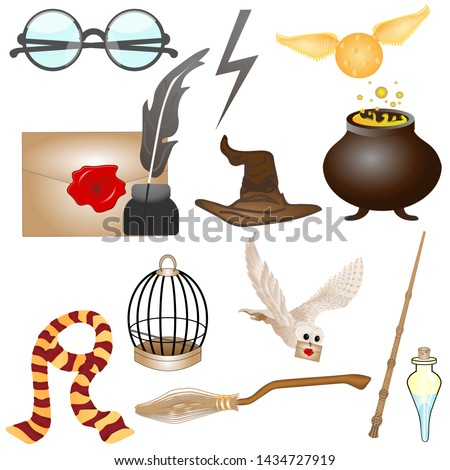 Subjects of the school of magic. Vector illustration