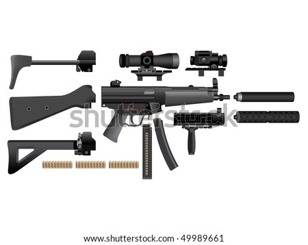 Submachine gun heckler mp5 accessories - stock vector