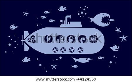 Submarin into the ocean surrounded by fishes