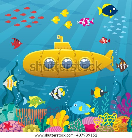 submarine background  cartoon