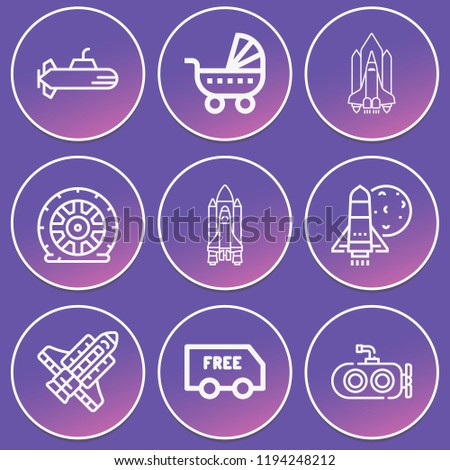 Submarine, delivery, shuttle, space shuttle, launching shuttle, flat tire icon set suitable for info graphics, websites and print media and interfaces. line vector icons.