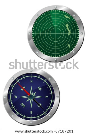 Submarine equipment - navigation compass and radar devices in icon style. Rasterized version also available in gallery