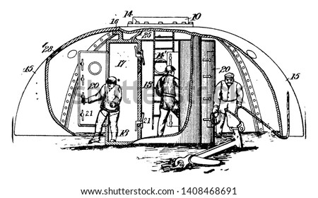 Submarine Hull used to describe the outer hull of a submarine which houses the pressure hull providing hydro dynamically efficient shape, vintage line drawing or engraving illustration.