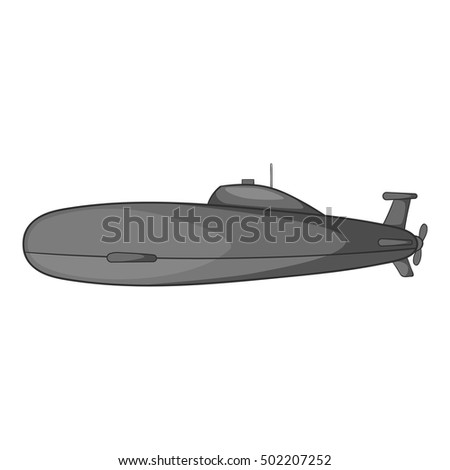 submarine icon gray monochrome