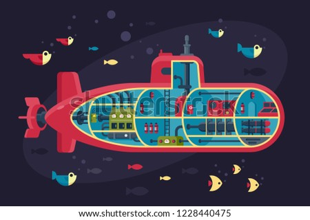 Submarine section, structure with fish, sea, ocean, internal content. Concept sectional underwater vehicle. Vector illustration