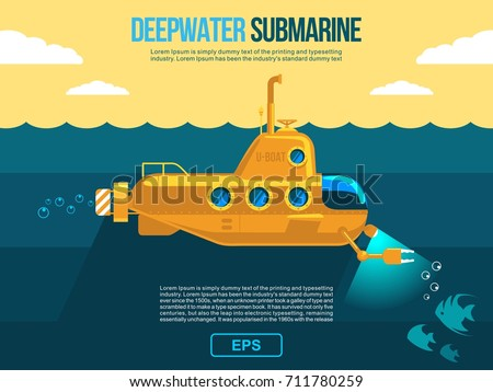 submarine under water vector